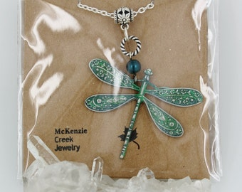 Dragonfly Pendant Necklace with Verdigris Patina and Pearl Accent on Silverplated Chain
