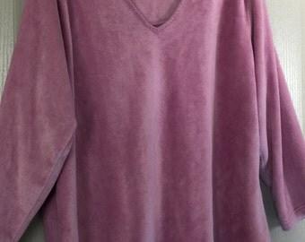 Fleece top 1X sleepwear/streetwear very soft plus sz L/S soft rose