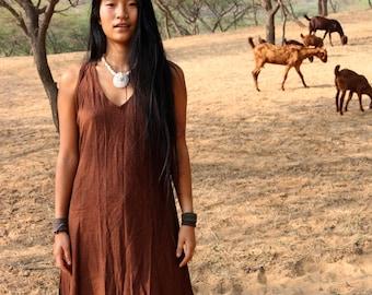 Sleeveless Frayed Raw Silk Dress ~ Brown