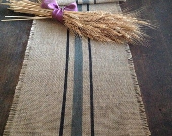 Striped Black and Gray Burlap Grain Sack Table Runner Choice of Colors by sweetjanesplan