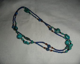 Vintage Genuine Turquoise and Lapis 36 Inch Necklace