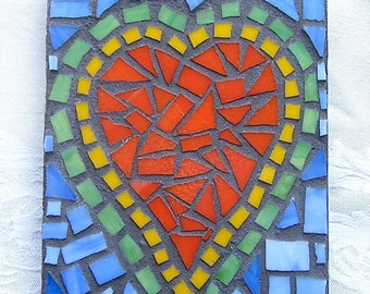 Heart, Wall Hanging, Orange, Love, Wedding, Nursery, Gift, Home Decor, Original Art