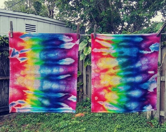 2 Rainbow Ice Dyed Kitchen Towels - Please Read Item Details Before Buying