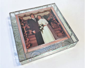 Stained Glass Keepsake Gift Box 40th 50th Wedding Anniversary Renewed Vows Golden Anniversary Bride & Groom Picture Handmade Made-to-Order