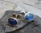 Sterling Silver Cuff Links, Blue Gemstone Cufflinks, Shiny Silver Kynite Men Jewelry, Rustic Silver Him Jewelry, Blue Wedding Cufflinks