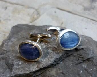 Sterling Silver Cuff Links, Blue Gemstone Cufflinks, Shiny Silver Kynite Men Jewelry, Silver Him Jewelry, Blue Wedding Cufflinks KF123KY