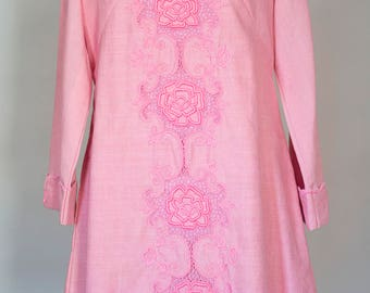Vintage 1960s Embroidered Pink Mod Dress