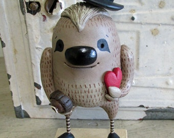 Valentine SLOTH with top hat candy and heart sculpted original art by Janell Berryman Pumpkinseeds