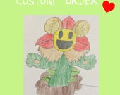 Special custom made flower plush inspired by a drawing.