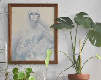 large sara moon framed litho print of a lady