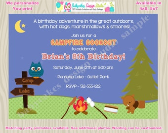 Camping Invitation invite Campfire Cookout Boy Camping birthday invitation invite camping sleepover party printable