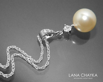 Pearl Drop Bridal Necklace Pearl Sterling Silber Wedding Necklace Swarovski 10mm Ivory Pearl Necklace Single Pearl Pendant Bridal Jewelry