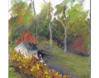 Original impressionistic landscape oil painting 8x10 Pump House green meadow tall trees