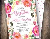 Floral Baptism Invitation, Pink Watercolor Flowers, Boho, Printable Invite, Rustic Flowers, Greenery, Magenta, Coral, 702