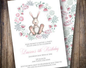 Bunny Birthday Party Invitation, Floral Birthday Party Invite, Printable Watercolor Bunny Birthday Invite in Pink, Green, Gray