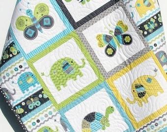 Baby Boy Quilt, Blanket, Nursery Crib Bedding, Bundle of Love, Giraffe Turtles, Grey Gray Yellow Blue Green, Modern Adorable Twin Bedding