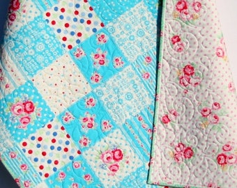 Shabby Chic Baby Girl Quilt, Cottage Style, Aqua Blue Pink Red Green, Child Youth Crib Cot Bedding, Flower Sugar Lecien Nursery Decor Floral