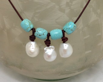 Bangle Necklace w/ White Baroque Pearls dangled between Turquoise