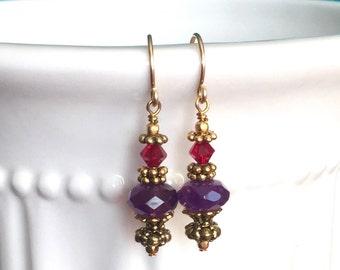 Fucshia Purple Crystal Earrings in Gold