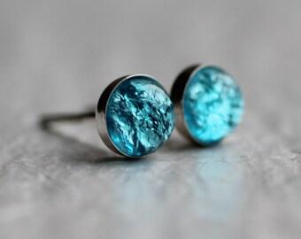 Turquoise Opal Earrings ... Vintage Glass Stud Post Earrings Silver