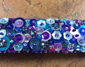 Blue, Purple and Aqua Sequined Cuff Bracelet