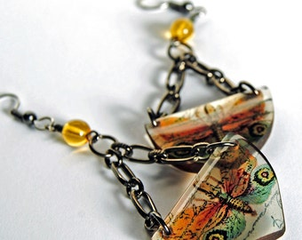 lantern fly earrings, orange green , winged creature earrings, goth earrings, nature earrings, gifts under 20