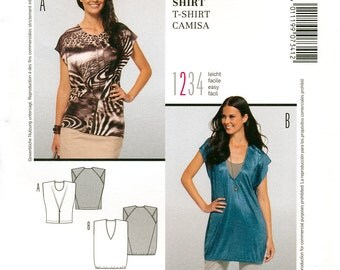 Burda Style 7341 Sewing Pattern for Misses' T-Shirt - Uncut - Size 10, 12, 14, 16, 18, 20, 22
