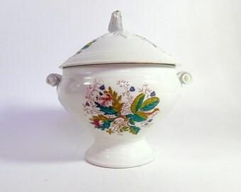 Antique French Shabby Porcelain Soup Tureen Vieux Paris