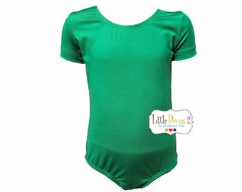 Kelly Green Leotard-Ballet Short Sleeve Leotard (Children's) Dance Wear
