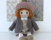doll, handmade heirloom doll, cloth doll in brown and pink, collectors doll, cute original doll