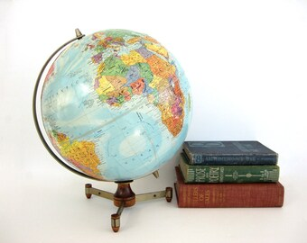 Vintage World Globe Desktop Wood Metal Tripod Stand Mid Century 1960's Home Office Decor Replogle Stereo Relief 12 inch