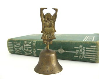 Vintage Brass Buddha Bell Figurine Small Meditation Karma