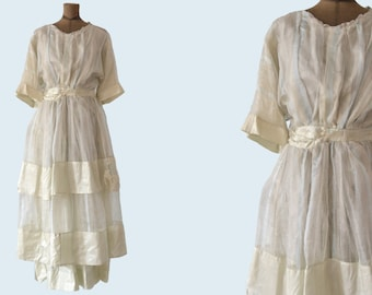 1900s Tiered Silk Dress size M