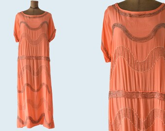 1920s Orange Silk Beaded Dress size M/L
