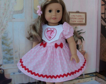 "Embroidered Valentine Dress for American Girl® Kit, Melody, Maryellen or Other 18"" Doll"