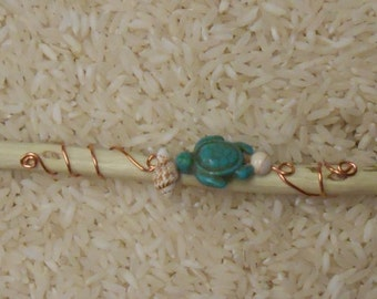 Copper Wrapped Crystal Tipped Ocean/Beach Faerie Wand with Sea Turtle, Starfish and Shell beads