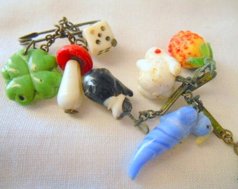 Vintage glass mixed charm LOT