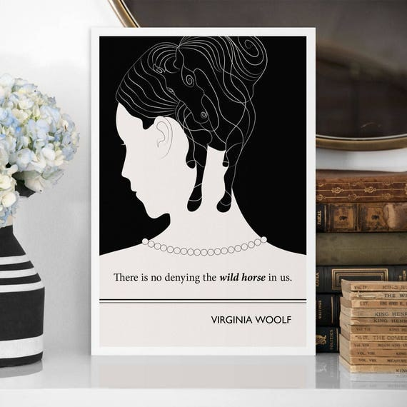 "Literary Art Prints, ""Virginia Woolf"" Quote Minimalist Poster, Large Wall Art Print, Illustration,  Literary Gifts, Womens March"
