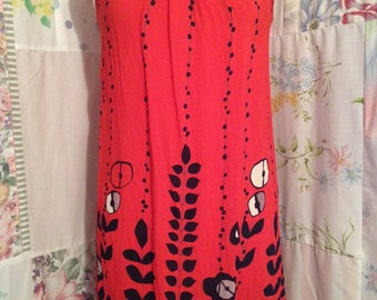 SMALL, Dress Flowerchild Bohemian Hippie Boho Summer Red-Orange Dress