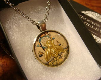 Small Bee over Vintage Map  Pendant Necklace (2414)