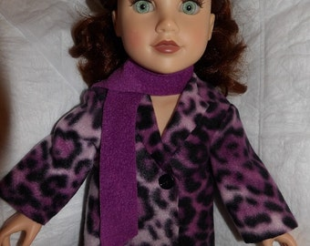 Purple Leopard print Fleece coat & scarf set for 18 inch dolls - ag321