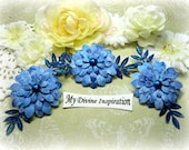Electric Blue Paper Flowers and Paper Embellishments for Scrapbook Layouts Cards Tags Mini Albums Altered Art and Paper Crafts