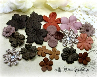18 Ivory Brown Terracotta Mulberry Paper Flowers, Petals for Scrapbooking Cards Mini Albums Tags and Paper Crafts