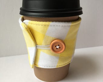 Sunflower Yellow Gingham Check Coffee Cozy - One Inch Gingham Check Coffee Cup Sleeve - Reusable Coffee Sleeve