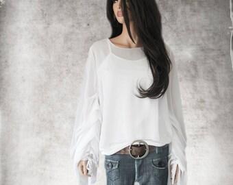 Top white shirt/pleated long sleeve/chiffon blouse