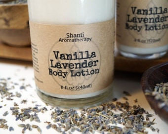 Lavender Vanilla Lotion -  8oz All Natural, Vegan Body Lotion