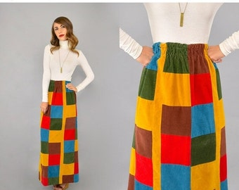 FEBRUARY SALE 70's Corduroy PATCHWORK Maxi Skirt