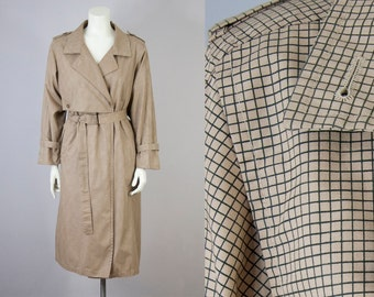 80s Vintage London Fog Tan & Black Windowpane Trench Coat (L, M Oversized)