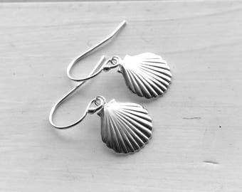 Small Seashell Earrings, Sterling Silver, Everyday Jewelry, Handmade Earrings, Gifts for Her, Beach Lover, Silver Shell Earrings