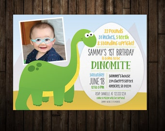Dino Mite Dinosaur Birthday Party 5x7 Photo Invitation Girl